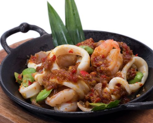 Dian Xiao Er Fiery Sambal Chinchalok Squid w Prawns (Spicy)